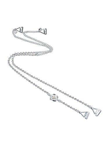 TreasureBay TreasureBay BH-Träger mit Strasssteinen, klassisch, einreihig, klare Kristalle mit Perlenverzierung, 1 Paar