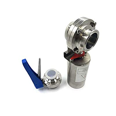 "SUS304 Sanitary Valve 2-1/2"" Tri Clamp Butterfly Valve Pneumatic Actuator Clamp Sanitary Stainless Steel USA Stock from BOYU-SHITAI"