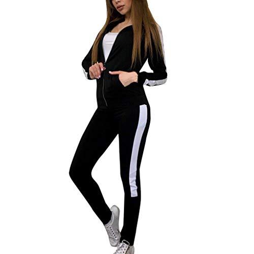 dkjawjcn Damen Trainingsanzug Set Fitness Sportanzug Frauen Jogginganzug Mode 2-teiliges Set Jumpsuit mit Reißverschluss Lange Hose Sportswear Freizeitbekleidung Set
