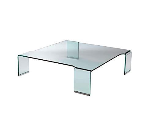 Qriosa Stile Italiano Mod. Fleur - Table Basse Moderne, Verre Bombé - 100x100 H28 - Made in Italy