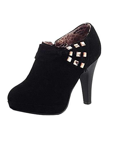 Minetom Damen Klassisch Vintage Schuhe Pumps High Heels Ankle Boots Brautschuhe Party mit Schleife Strass Schwarz EU 39