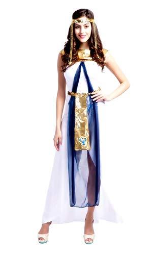 KIRALOVE Disfraz de Cleopatra - Egipcio - Blanco - Disfraces de Mujer - Halloween - Carnaval - Adultos - Fiestas - Talla m - Idea de Regalo Original