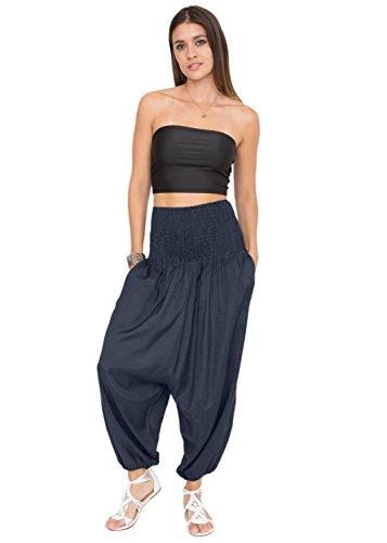 likemary Damen Harem Jumpsuit, Einfarbig Gr. One size , midnight