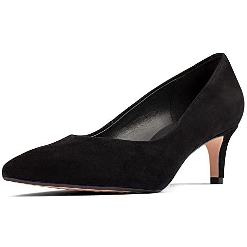 Clarks Laina55 Court2 - Scarpe da donna, vestibilità larga, Camoscio nero, 37 EU