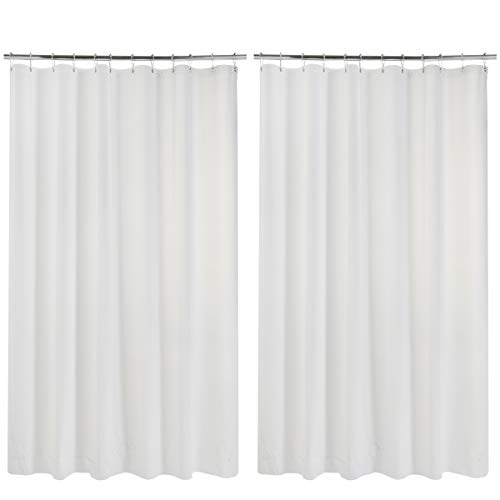 AmazerBath 2 Pack Thin Shower Curtain Liners, 70 x 72 Inches PEVA 3G Shower Curtains with Stones and 12 Grommet Holes, Waterproof Lightweight Plastic Liners- White