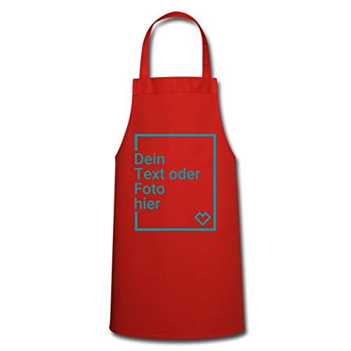 Spreadshirt Personalisierbare Kochschürze Selbst Gestalten mit Foto und Text Wunschmotiv Kochschürze, Rot