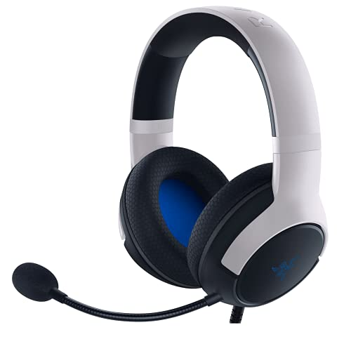 Razer Kaira X Wired Headset for Playstation 5, PC, Mac & Mobile Devices: Triforce 50mm Drivers - HyperClear Cardioid Mic - Flowknit Memory Foam Ear Cushions - On-Headset Controls - White/Black