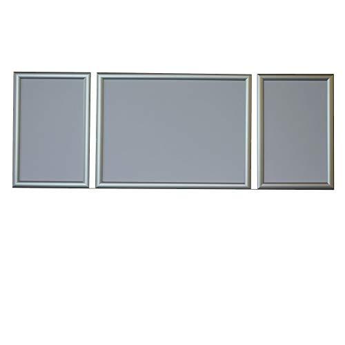 RAABEC Triptychon Bilderrahmen, Größe 100 x 40cm, Farbe Silber, für Malen nach Zahlen Triptychon Bilder z.B. von Ravensburger