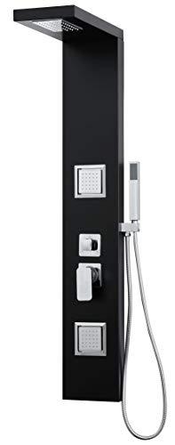 Elbe® Duschpaneel schwarz mit Einhebelmischer, Duschsystem mit 3 Funktionen, mit Regendusche und Handbrause und Massagedüsen