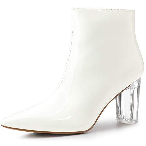 Allegra K Damen Panel Klar Blockabsatz Lackleder Boots Stiefel Weiß 38