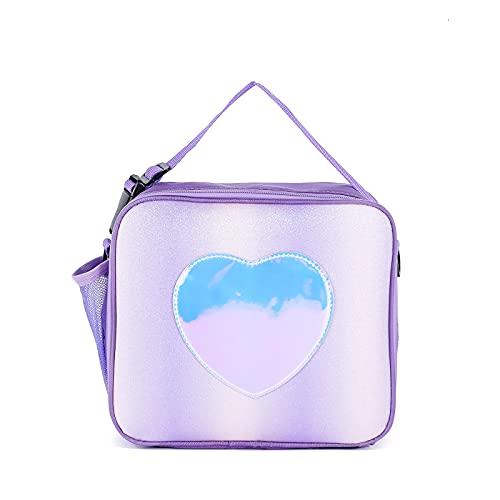 Caja de almuerzo colorida, bolsa de arco iris, portátil, reutilizable, para niños, niñas, picnic, con correa de hombro extraíble (púrpura)