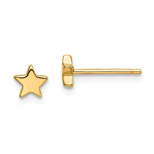 14k Yellow Gold Star Post Stud Earrings Celestial Fine Jewelry For Women Gifts For Her