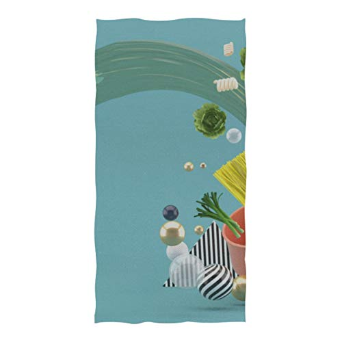 DUKAI Pool- und Strandtücher, pflanzliche Nudeln Wasserspritzer fliegen in extra große Größe (74 × 37 Zoll) Super saugfähiges, schnell trocknendes, kompaktes, kühles Reisetuch