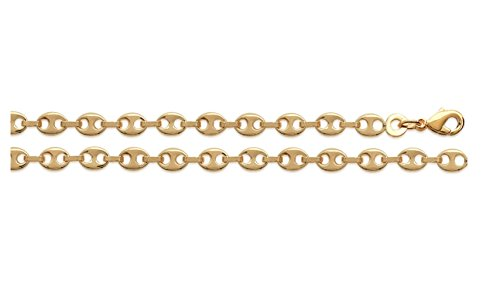 Ketting, 50 cm, voor heren, echt goud, geelgoud gecertificeerd, koffiebonen-ketting, 4 mm