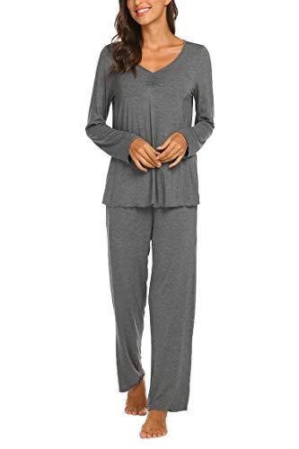 MAXMODA Damen Pyjama Set Plaid Schlafanzug Langarm Kariertes Pyjama Set Nachtwäsche Weich Damen Lounge Sets