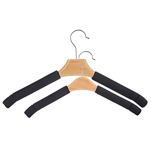 QAQ Kleiderbügel Massivholz Kleiderbügel Schwamm Kleider hängend rutschfest Kleiderständer spurlos Keine Kleider hängend Kleiderständer Anzug Kleiderbügel -, schwarz - Herren_5 nur