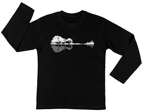 Natuur Gitaar Unisex Kinder Jongens Meisjes Lange Mouwen T-shirt Zwart Unisex Kids Boys Girls's Long Sleeves T-Shirt Black