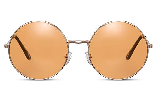 Cheapass Gafas de Sol Redondas Doradas Metálicas Festival Gafas de sol con Naranja Cristales Translúcidos UV400 Hombres Mujeres