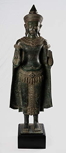 HD Asian Art Antique Buddha Statue - Antique Khmer Style Bronze Angkor Wat Protection Buddha Statue - 103cm/41
