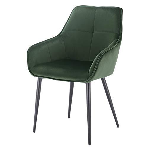 EUGAD 0357BY-1 1 Stück Esszimmerstühle Küchenstuhl Wohnzimmerstuhl Polsterstuhl mit Armlehne, Retro Design, Samt, Metall, Dunkelgrün