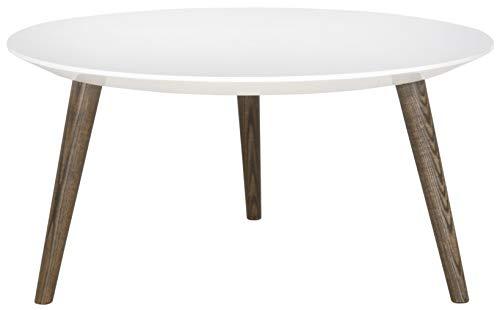 Safavieh EAF4217A Lincoln Table d'appoint en Laque Fibre Blanc/Marron 80 x 80 x 39,87 cm
