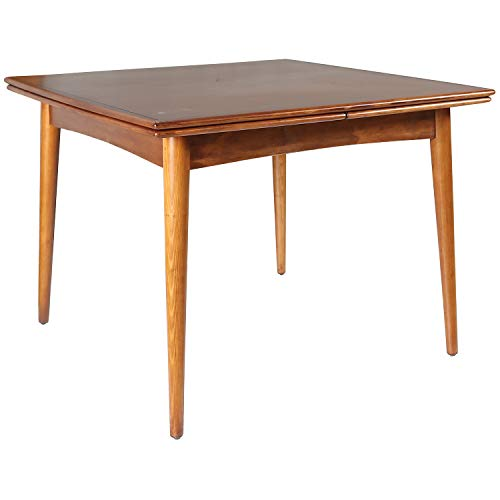 Amazon Brand – Rivet Mid-Century Modern Pine Extendable Dining Table, 39'–77'W, Brown