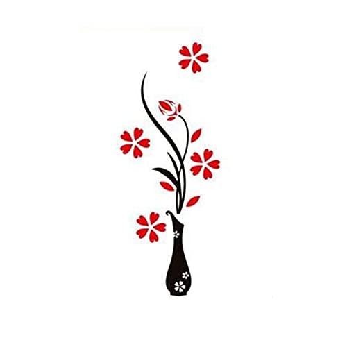 Qiheng Etiqueta Engomada De La DecoracióN De La Pared del Espejo AcríLico 3D, JarróN De Flores 3D ExtraíBle DIY Papel De Pared del Espejo DecoracióN Mural De La Pared DecoracióN del Dormitorio