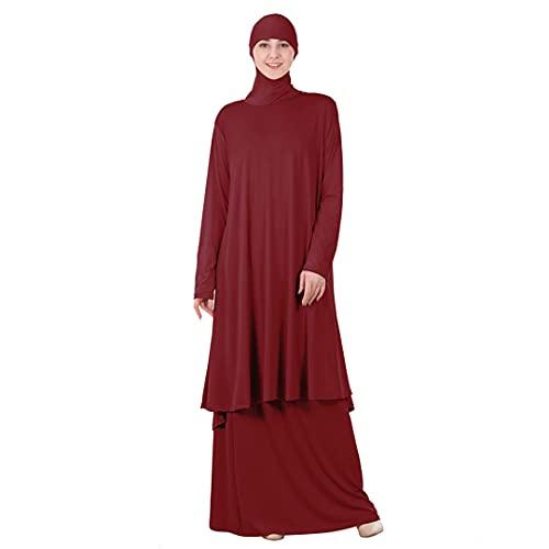 Women Muslim Worship Abaya Two Pieces Dress Thobe Gown Hijab Prayer Middle East Robe Dark Red L