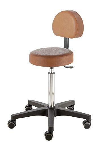 Prova Nova GmbH Roll- und Drehhocker Comfort Swing 4411, Sitzhöhe ca. 54-73 cm, Rundsitz mit Rückenteil, Rollen/Bodengleiter:weiche Radbandage, Polsterdekor:Dekor Rodeo