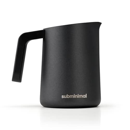 Subminimal FlowTip Jug, Stovetop Milk Warmer Pot, Milk Frothing Jug for Barista-Style Coffee, Black