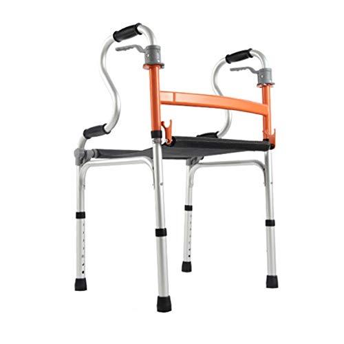 Rollatoren Walker for Senioren Alter Mann Mit Sitzhilfe Dickes Aluminiumlegierung Walker Erwachsener Walker Aufrechter Walker Drive Walker (Color : Orange, Size : 43 * 51 * 75-90cm)