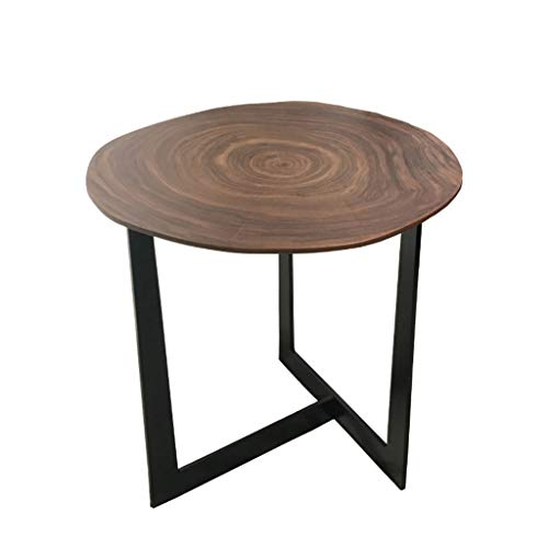 LICHUAN Mesa de café industrial Mesa auxiliar redonda con marco de hierro, mesa auxiliar de salón, dormitorio, mesa de té, sala de estar (color de nogal)