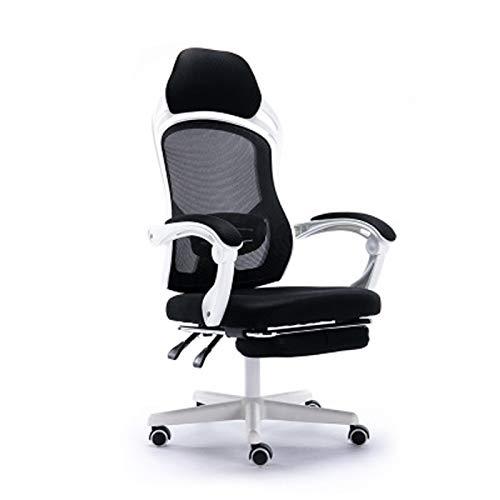 Silla de ordenador Silla de oficina ergonómica Silla trasera reclinable Asiento de hogar Boss almuerzo descanso silla giratoria con reposapiés blanco