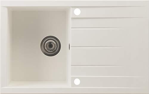respekta HOUSTON80X50W Spüle, 60% Verbundmaterial aus Mineralstoffen und Glasfasern, 40% Kunstharz, Weiß, 80 cm