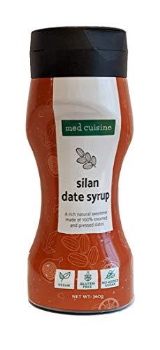 Dattel Sirup Med Cuisine Silan 100% 360gr reiner & natürlicher Dattelsirup (Dattelhonig) - Vegan, zuckerfrei, paläo geegignet, glutenfrei, 360 Gramm, Squeeze-Flasche (1 Pack)