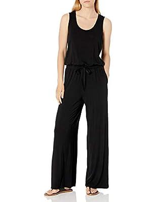 Amazon Essentials Women's Sleeveless Scoop-Neck Wide-Leg Jumpsuit, Black, X-Large