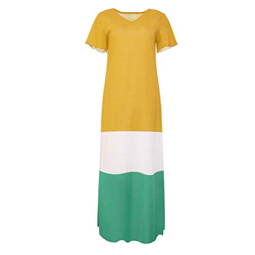 Jurk Vrouwen Mode Elegante 2019 Stijl Zomer Dames Mode Merken Vereenvoudigd Heldere Kleur Losse Korte Mouw Lange Stijl Jurk Zomer-Jurk