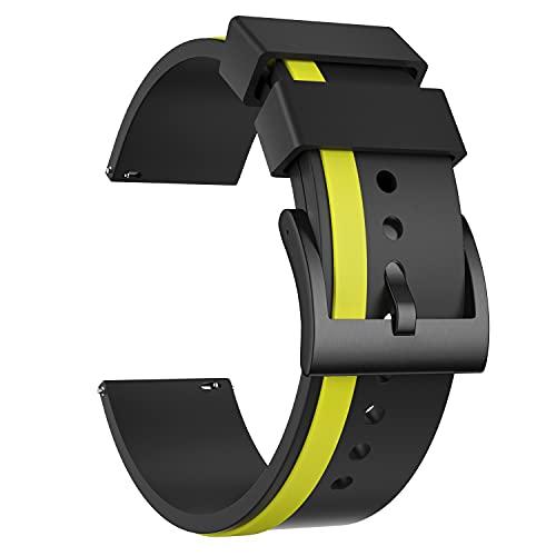 Ullchro Correa Reloj Recambios Correa Relojes Caucho Hombre Mujer - 20, 22, 24mm Silicona Correa Reloj con Hebilla de Acero Inoxidable Cepillado (20mm, Yellow & Black)