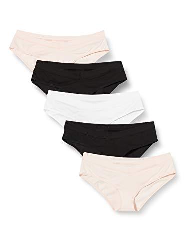 Iris & Lilly Damen Slips, 5er-Pack, Mehrfarbig (Schwarz, Weiß, Soft Pink), L, Label: L