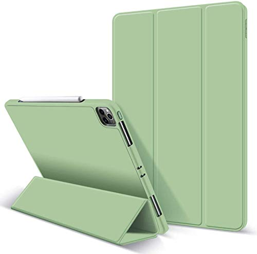 FANG Case for IPad Pro 11' 2020 with Pencil Holder, Soft Flexible TPU Back Cover, Auto Sleep/Wake, Multiple Viewing Stand Modes,Green