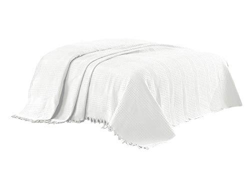 Class Home Collection Pique Tagesdecke Bettüberwurf mit Fransen 220x240 cm Uni Weiß