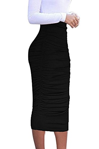 Vivicastle Women's Ruched Frill Ruffle High Waist Pencil Mid-Calf Skirt (1black, Black, Medium)