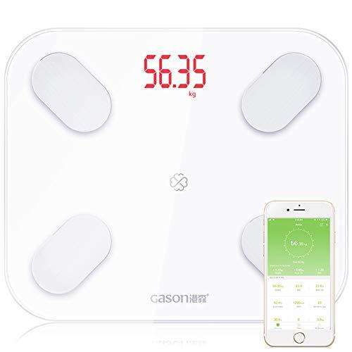GFEI Báscula de baño Digital Inteligente para Peso, báscula de baño Bluetooth, báscula de baño Inteligente Analizador de composición Corporal para iOS, Android, 400 Libras,White