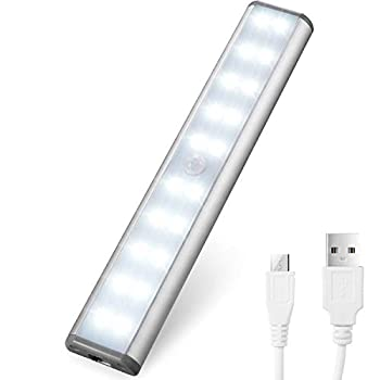 Motion Sensor Cabinet Lights,USB Rechargeable 20 LED Portable Cordless Closet Lighting,Wireless Under Counter Light Bar Magnetic Removable Stick-On Anywhere for Wardrobe/Cupboard/Stairs  20LED
