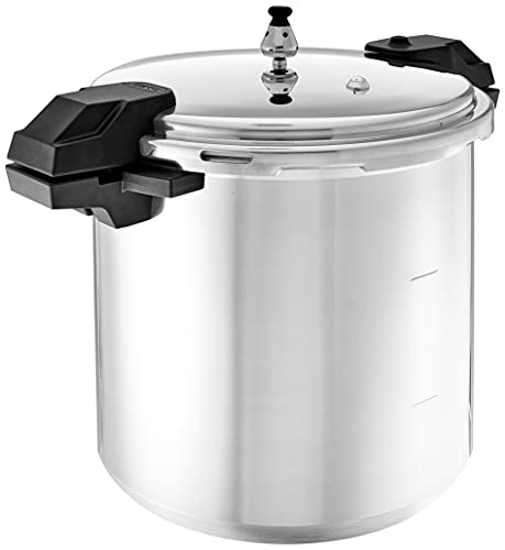 Mirro 92122 92122A Polished Aluminum 5/10 / 15-PSI Pressure Cooker/Canner Cookware, 22-Quart, Silver