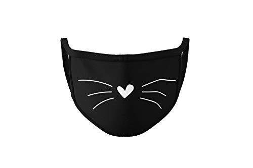 Dilara Maske mit Katzengesicht - Mundbedeckung mit Katzenmotiv Grinsekatze - Masken aus Baumwolle als Katzen Mund, Schwarz (Katze)