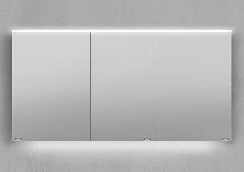 Intarbad ~ Spiegelschrank 140 cm integrierte LED Beleuchtung doppelt verspiegelt Weiß Hochglanz Lack IB5333