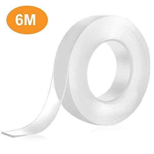 Kikc Cinta de doble cara, la cinta nano se puede aplicar repetidamente después del lavado ampliamente utilizada en paredes cocinas alfombras llaves fijación de fotos etc 3CM x 6M x 2MM