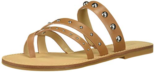 Nine West Women's wnCLARA Flat Sandal, Luggage, 7.5