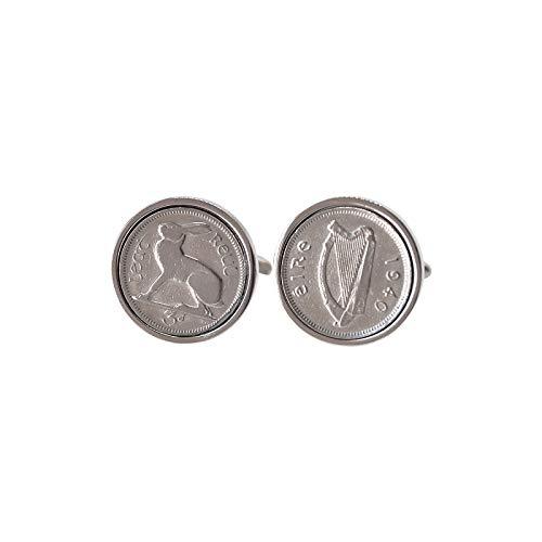 1940 irlandais Coin Boutons de manchette Boutons de manchette - Véritable 1940 Threepence Irlande
